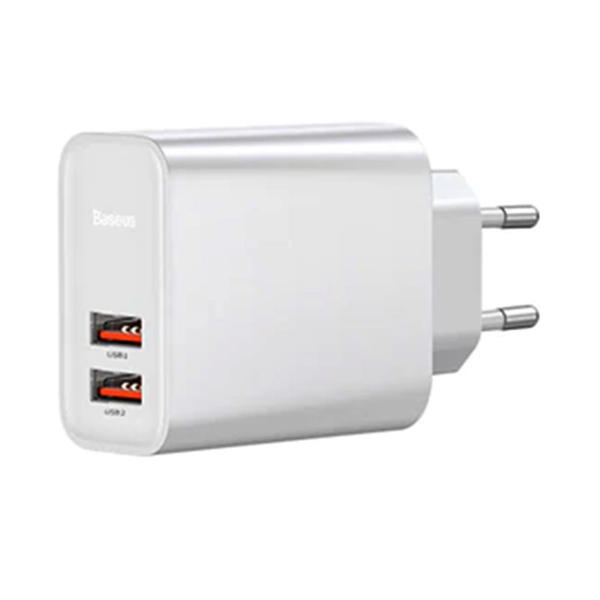 Picture of Baseus Home Charger Speed Series For QC3.0 2USB 30W White (EU) MOQ:20 (CCFS-E02)