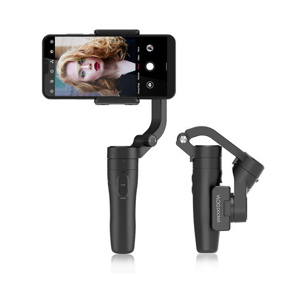 Picture of FeiyuTech VLOG Pocket 3-Axis Handheld Smartphone Gimbal Stabilizer Creative Foldable Vlog Pocket Gimbal AI Tracking for iPhone HUAWEI Samsung Xiaomi 42-88mm Width Smartphone Payload 240g