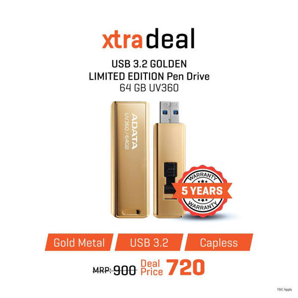 Picture of ADATA 64 GB UV360 USB 3.2 GOLDEN LIMITED EDITION