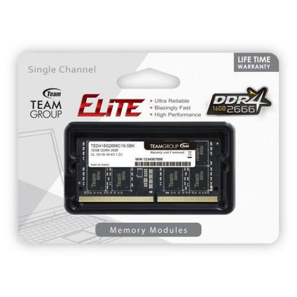 Picture of TEAM ELITE 16GB 2666MHz DDR4 LAPTOP RAM (TED416G2666C19-S01)