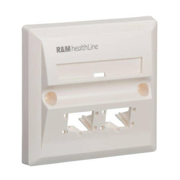 Picture of R&M Cat 6 Pure White 2 Port Faceplate