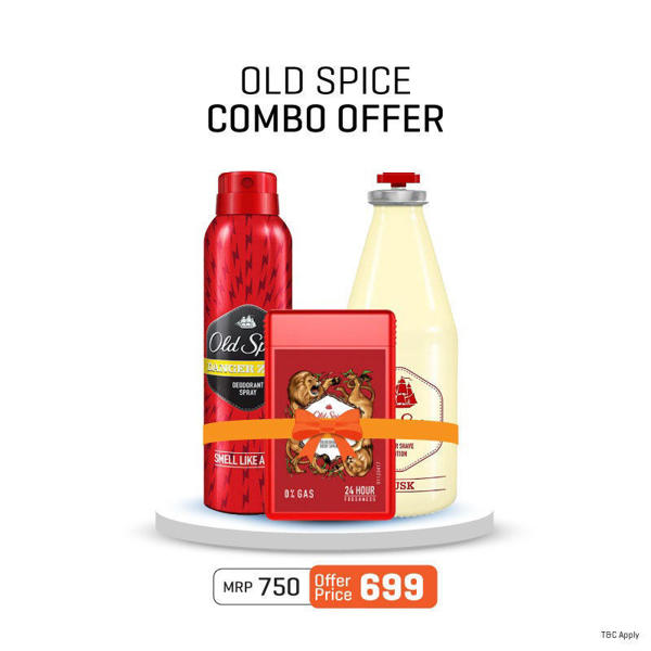 Picture of Combo Old Spice Musk After Shave Lotion + Lionpride Pocket Deodorant + DEODORANT SPRAY DANGERZONE