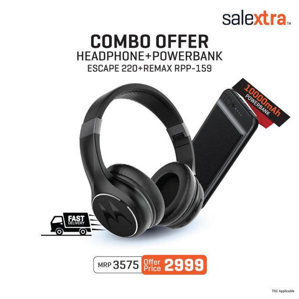 Picture of Combo Offer | Motorola Escape 220 Wireless Headphones + Remax RPP-159 Dual USB Port 10000Ah Powerbank